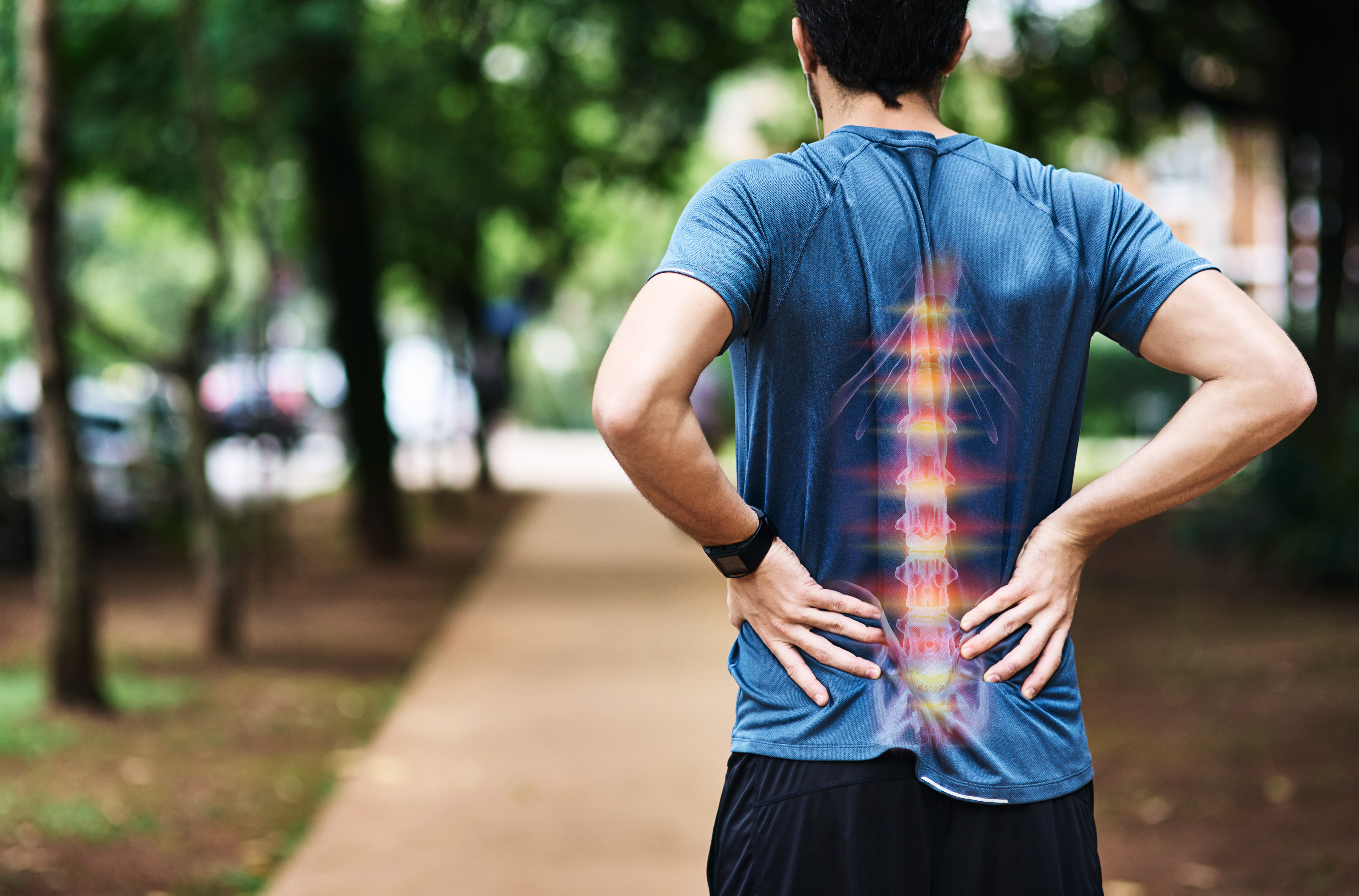 Man with rib and back pain